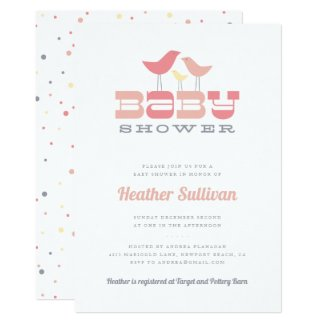 Little Bird Baby Shower Invitation - Pink