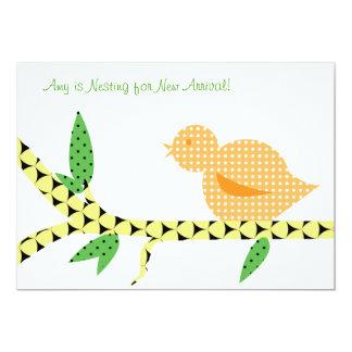 Little Bird Baby Shower - Orange Polka Dots Card