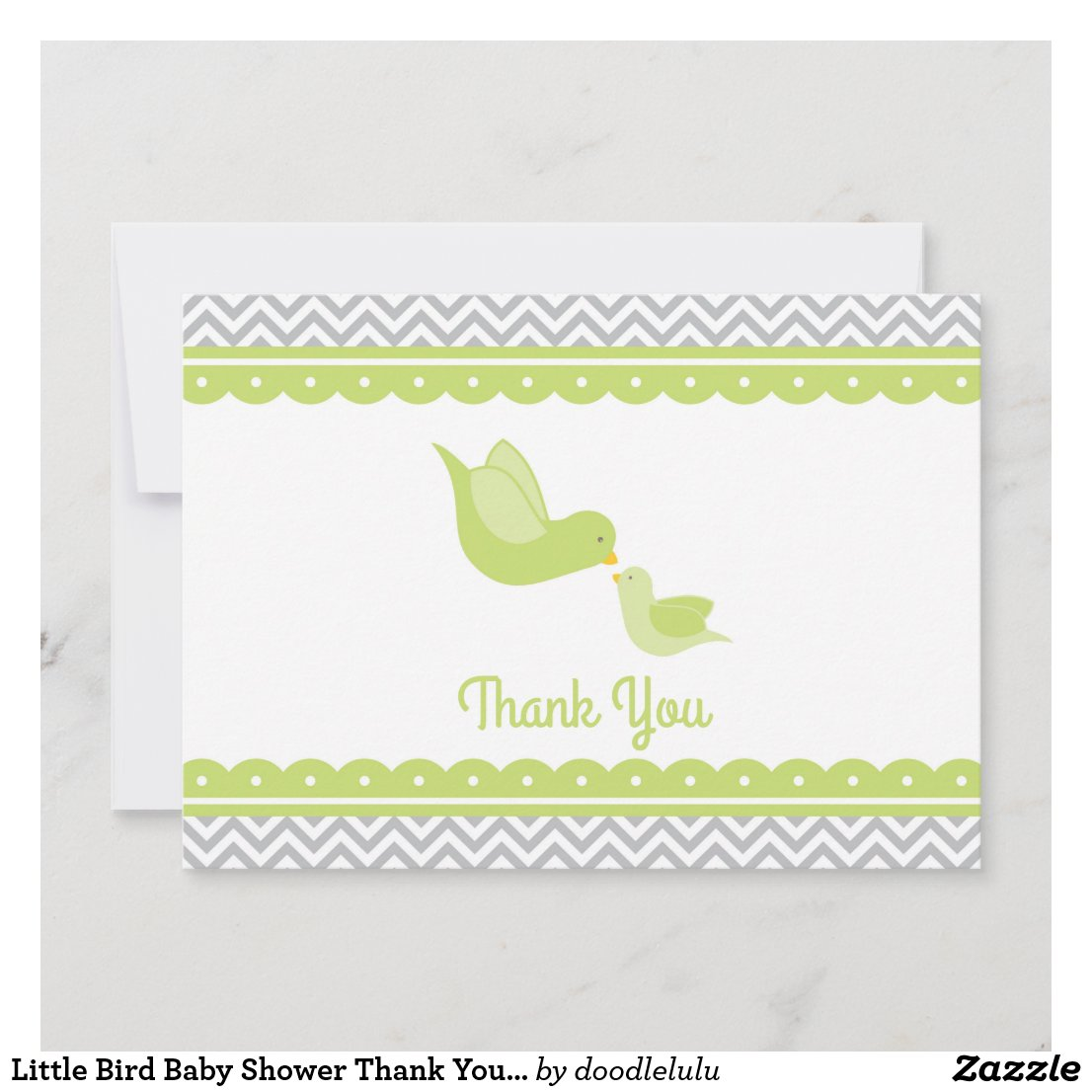 Little Bird Baby Shower Thank You green gray