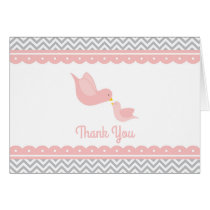Little Bird Baby Shower Thank You pink and gray Card