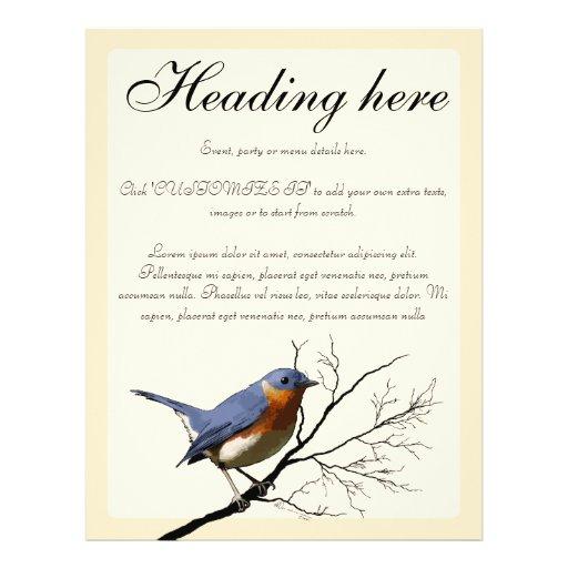 Little Bird Blue, customizable Flyer Design