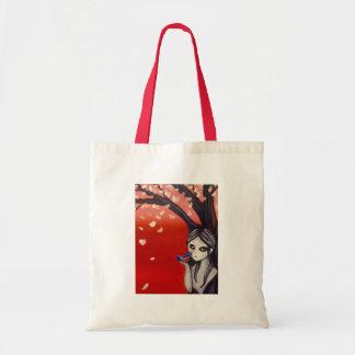 little bird cherry blossom tote bag