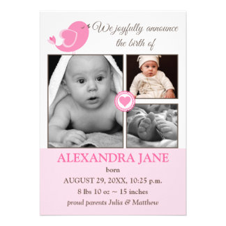 Little Bird Hearts Baby Photo Birth Announcement