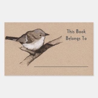 Little Bird in Charcoal: Book Plate: Wildlife Art Rectangular Sticker