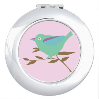 Little bird in mint and pink mirror for makeup