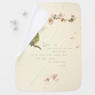 little bird poem swaddle blanket