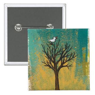 Little bird sings fun pretty original art painting button