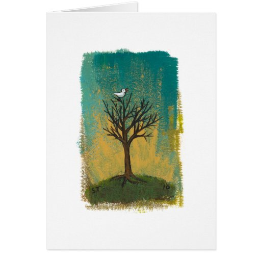 Little bird sings fun pretty original art painting greeting card