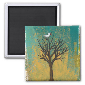 Little bird sings fun pretty original art painting fridge magnets