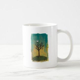 Little bird sings fun pretty original art painting classic white coffee mug