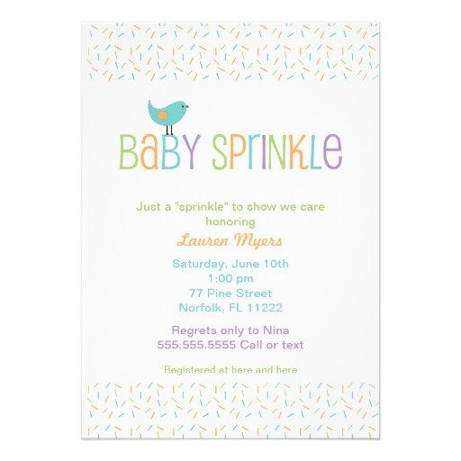Little Bird Sprinkle Baby Shower Invite Neutral