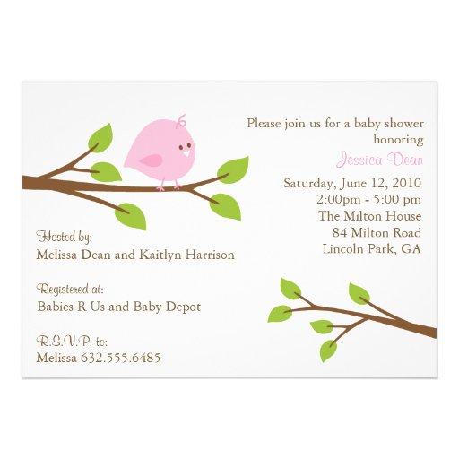 Little Birdie Baby Girl Shower Invitation