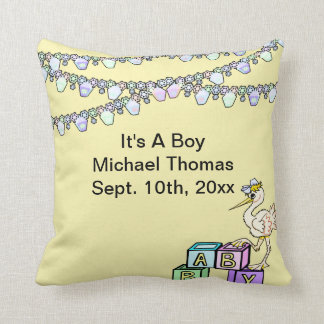Little Birdie Baby Shower In Yellow Keepsake Throw Pillow