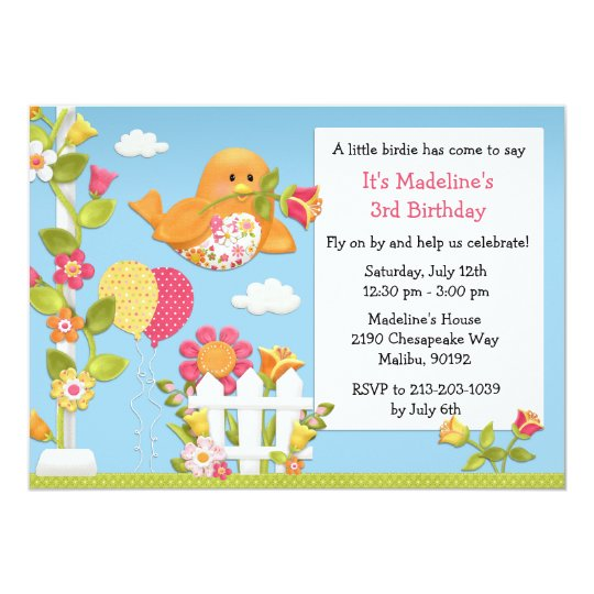 Little Birdie Birthday Party Invitation