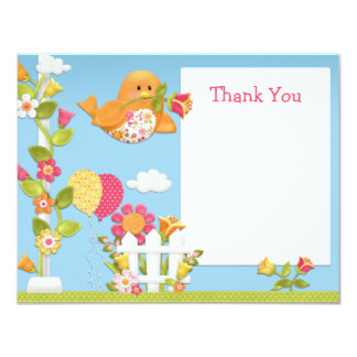 Little Birdie Birthday Party Thank You Card