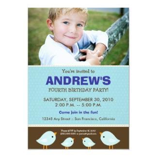 Little Birdie Boy's Blue Birthday Party Card