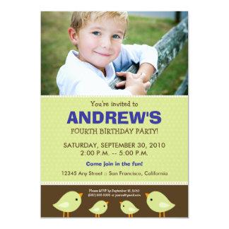Little Birdie Boy's Lime Birthday Party 5x7 Paper Invitation Card