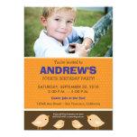 Little Birdie Boy's Orange Birthday Party 5x7 Paper Invitation Card