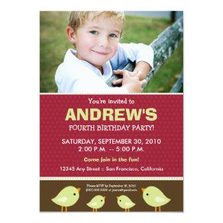 Little Birdie Boy's Red Birthday Party 5x7 Paper Invitation Card