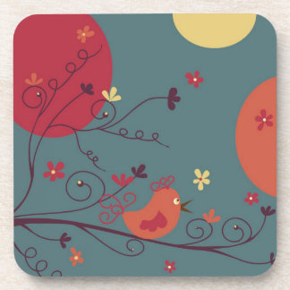 Little Birdie - cork coasters -set of 6