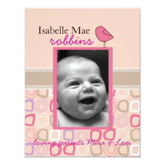 little birdie double sided birth announcement
