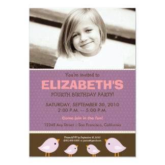 Little Birdie Girl's Lilac Birthday Party 5x7 Paper Invitation Card