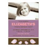 Little Birdie Girl's Lilac Birthday Party Custom Announcement