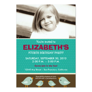 Little Birdie Girl's Teal Birthday Party 5x7 Paper Invitation Card