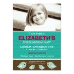 Little Birdie Girl's Teal Birthday Party Personalized Announcements