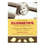 Little Birdie Girl's Yellow Birthday Party Personalized Invitations