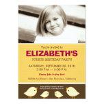 Little Birdie Girl's Yellow Birthday Party 5x7 Paper Invitation Card