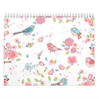 Little Birdie Pink and Blue Whimsical Girly Calendar