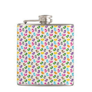 Little Birdie Pink and Blue Whimsical Girly Flasks