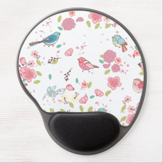 Little Birdie Pink and Blue Whimsical Girly Gel Mouse Pad