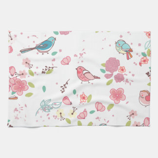 Little Birdie Pink and Blue Whimsical Girly Kitchen Towel