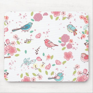 Little Birdie Pink and Blue Whimsical Girly Mouse Pad