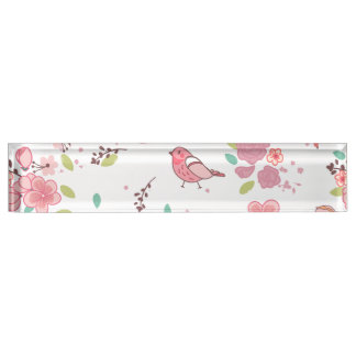 Little Birdie Pink and Blue Whimsical Girly Nameplate