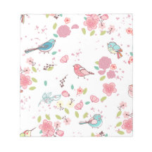 Little Birdie Pink and Blue Whimsical Girly Notepad
