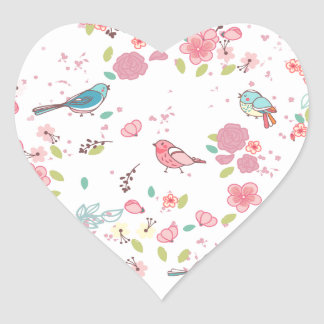Little Birdie Pink and Blue Whimsical Girly Sticker