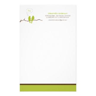 Little Birdies Custom Designer Stationery (lime)