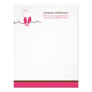 Little Birdies Custom Flat Note Cards (fuchsia) Invitations