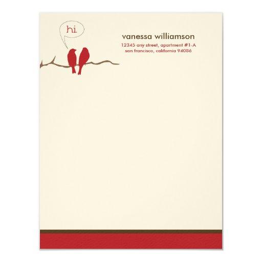 Little Birdies Custom Flat Note Cards (red)