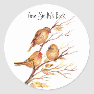 Little Birds Book Plate to Customize Classic Round Sticker