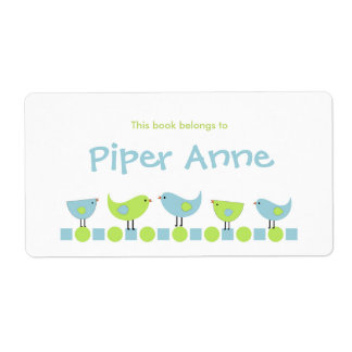 Little Birds Bookplate / School Supplies Label Shipping Label