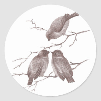 Little Birds Chatting on a Winter Branch Sepia Sticker
