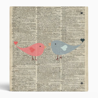 Little Birds Love Collage On Old Dictionary Page Binders