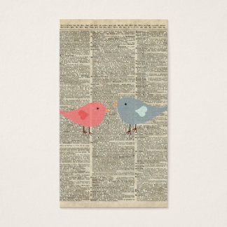 Little Birds Love Collage On Old Dictionary Page Business Card