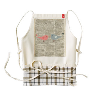 Little Birds Love Collage On Old Dictionary Page Zazzle HEART Apron