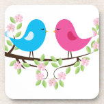 Little Birds on Floral Branch Drink Coasters