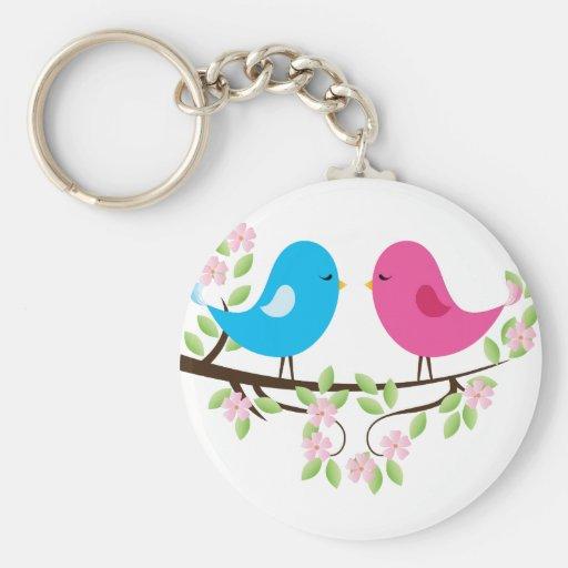 Little Birds on Floral Branch Keychains